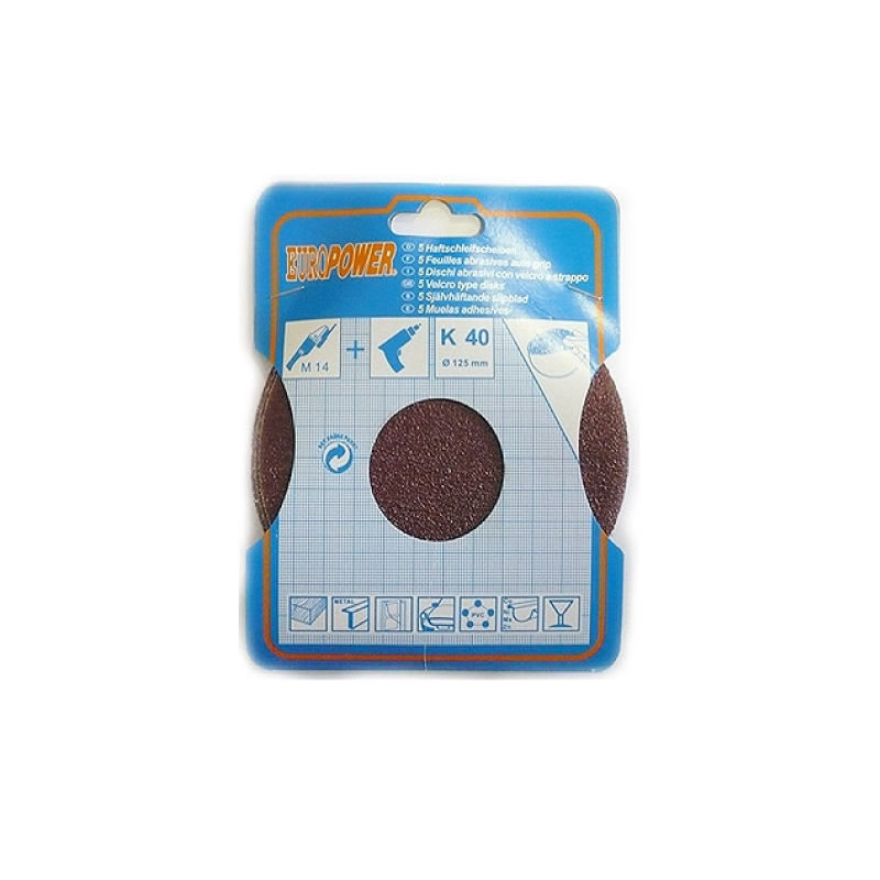 Europower 125mm Sanding - Abrasive Disc K40 5pcs