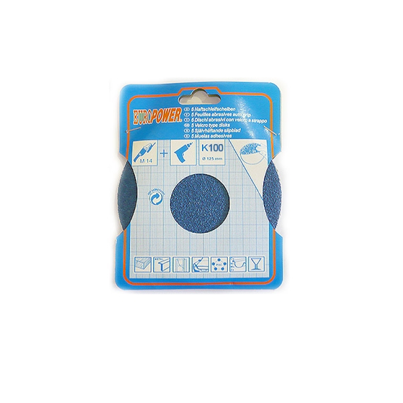 Europower 125mm Sanding - Abrasive Disc K100 5pcs