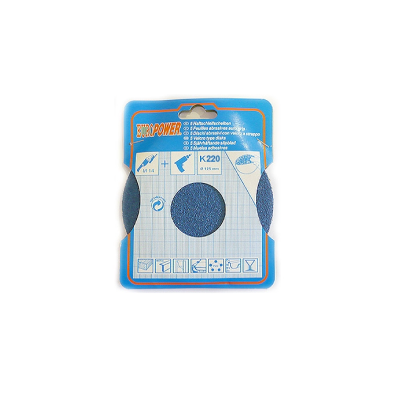 Europower 125mm Sanding - Abrasive Disc K220 5pcs