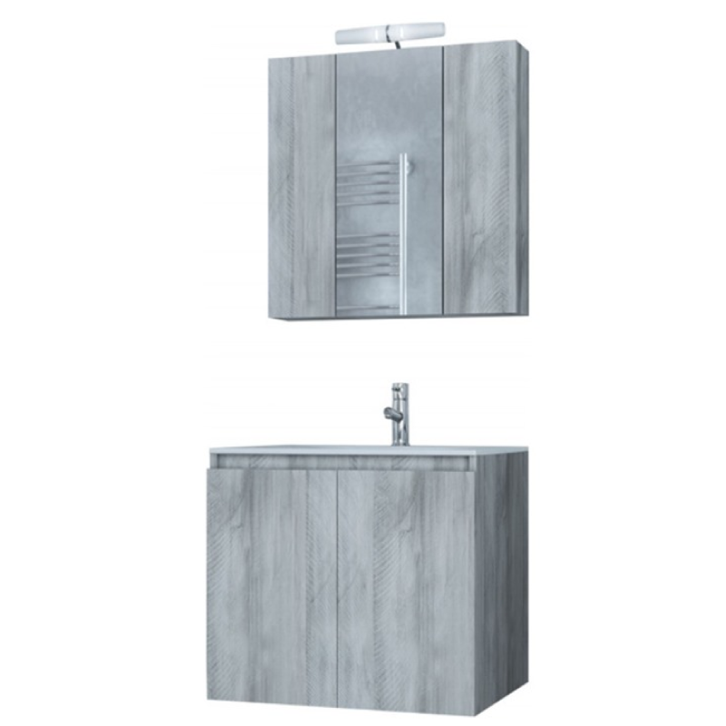 Verona 60cm 5FVR060GV Grey  Basin Cabinet Mirror Set Bathroom Furniture