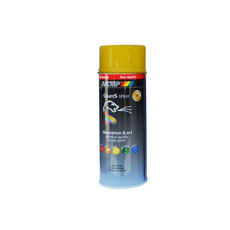 Motip Spray Paint Acrylique Crafts Gloss Yellow RAL-1021 400ml
