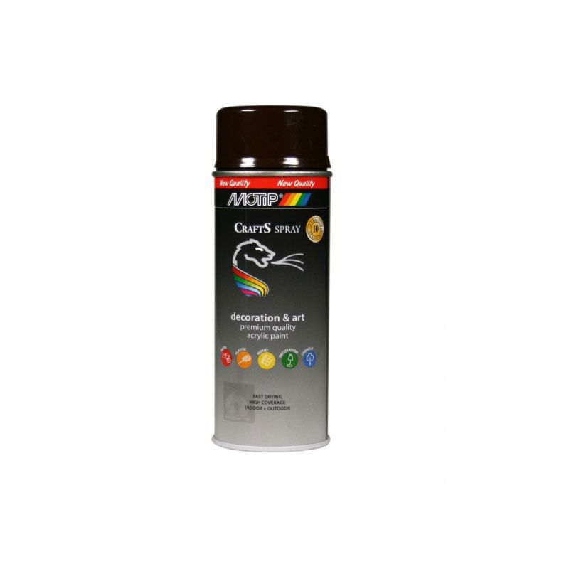 Motip Spray Paint Acrylique Crafts Gloss Brown RAL-8017 400ml