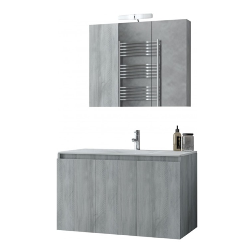 Verona 90cm 5FVR090GV Grey Basin Cabinet Mirror Set Bathroom Furniture