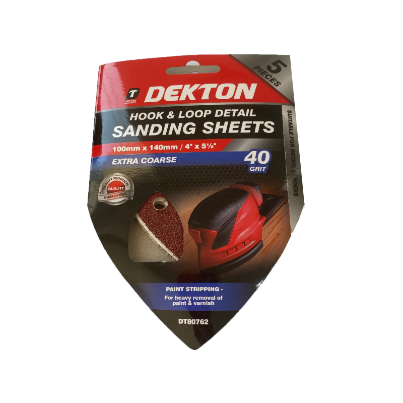 Dekton 100x140mm Sanding - Abrasive Triangular Grit 40 5pcs
