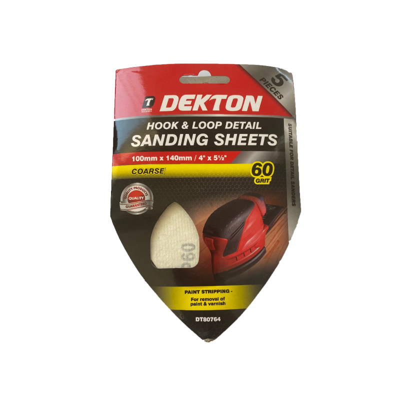 Dekton 100x140mm Sanding - Abrasive Triangular Grit 60 5pcs