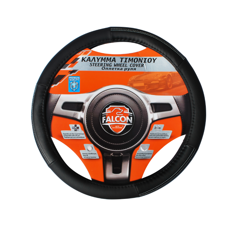 Falcon Leather 37-39cm Black/ White Steering Wheel Glove