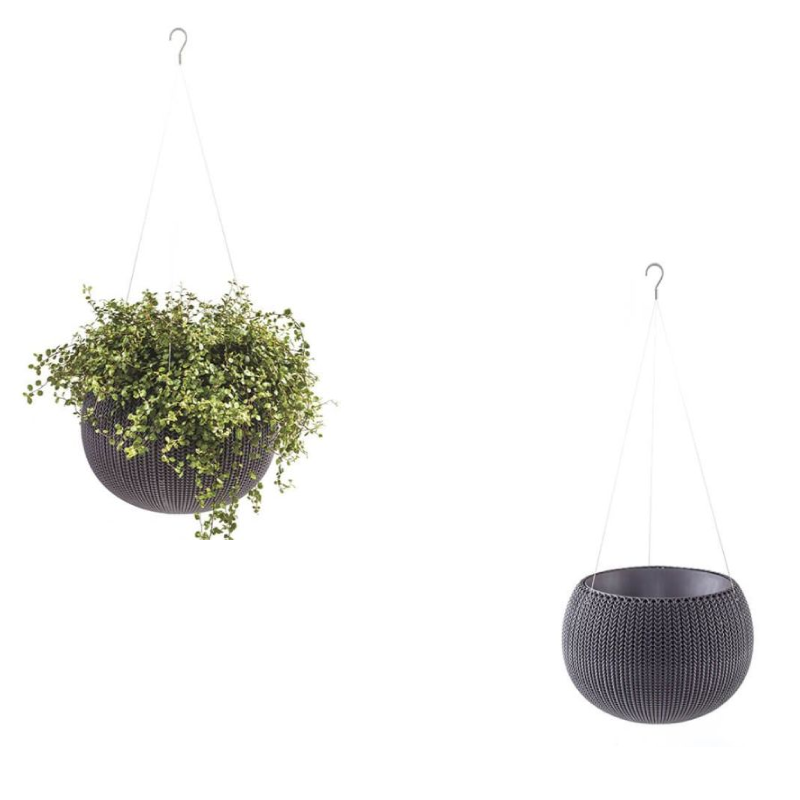 Keter Small Elegant Grey Rattan Cozy Flower Pot
