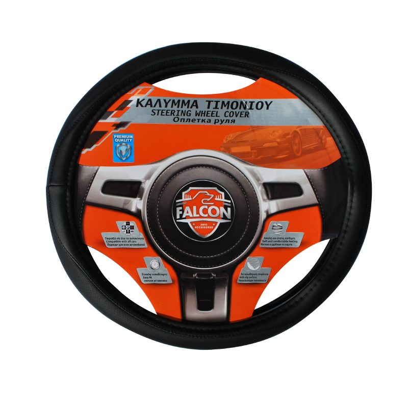 Falcon Leather 35-37cm Black Steering Wheel Glove