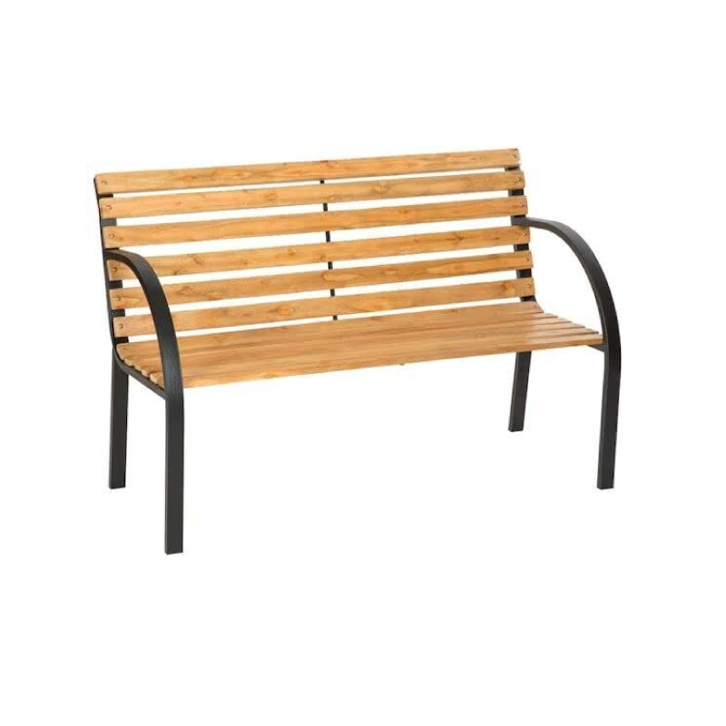 Parkbench 2Seater Wood Metal Frame Garden Bench