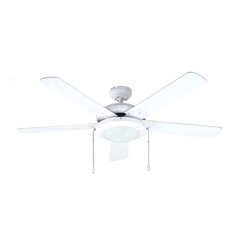"Otto OT-D52018 52"" Polished White Metal Ceiling Fan + Lamp"