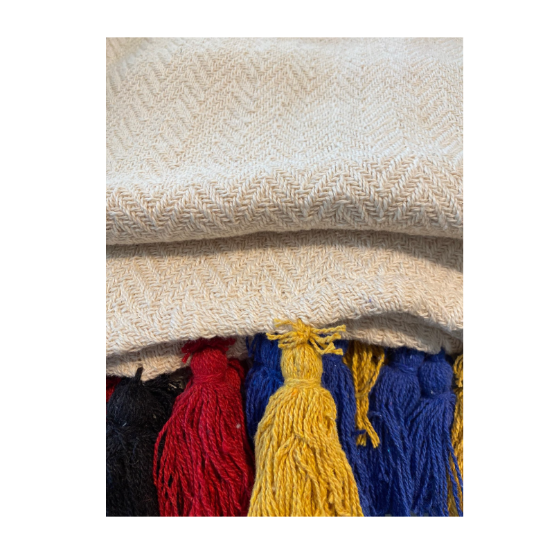 Fringes 014643 130x170cm Beige Red Blue Yellow Sofa Throw
