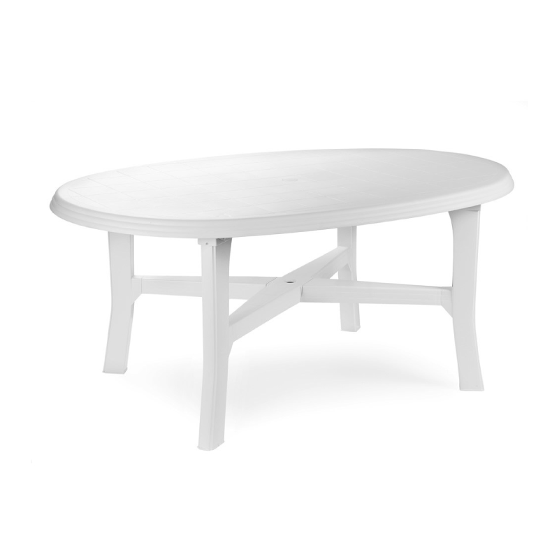 Pro Garden Danubio White Plastic Oval Garden Table