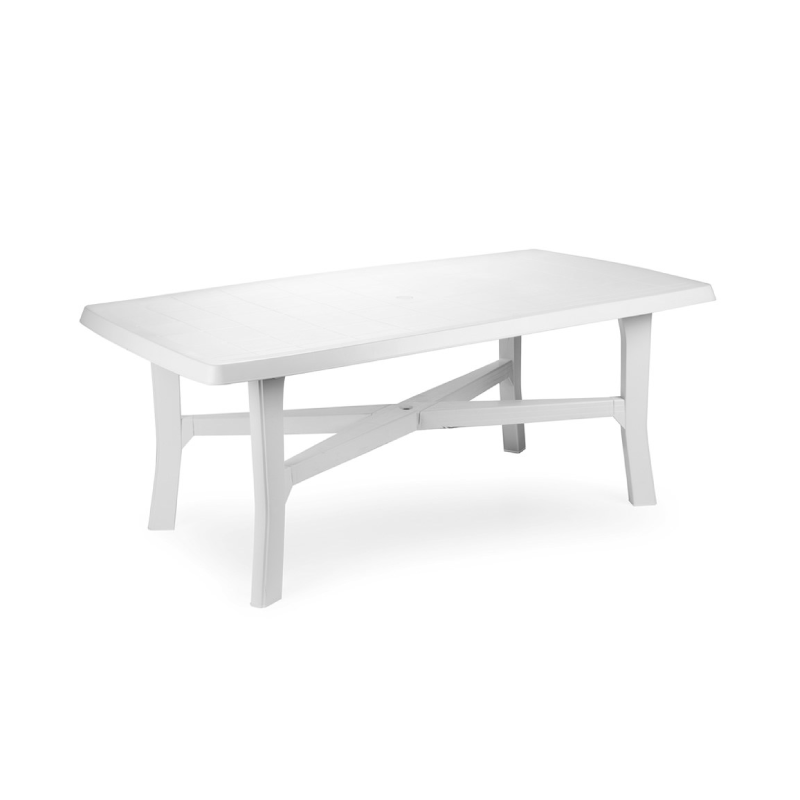 Plp Senna Plastic White Rectangular Garden Table