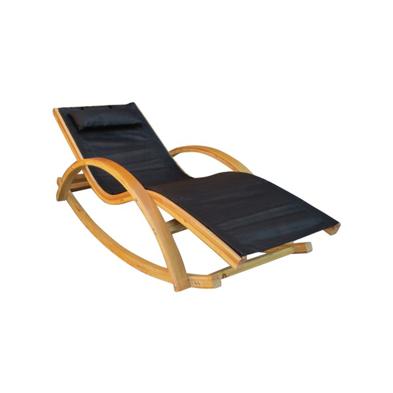 Cailin Rocking Pine Wood Black Fabric Sunbed