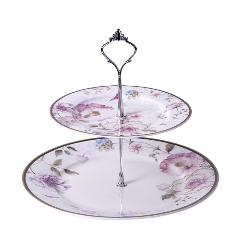 Procelain White / Pink 2 Tiers Serving Stand