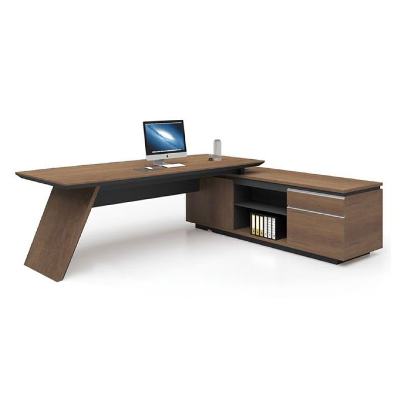 Office Desk Proline Ε-00020857 Wild Oak Black Right Corner 200x200cm